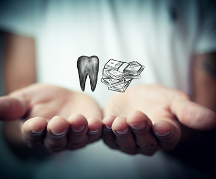 Graphic representation of a tooth and dollars on top a person's palms